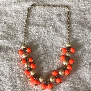 """11"""" tangerine and pearl beaded necklace"""